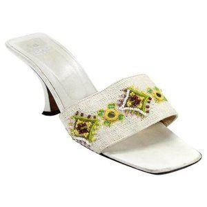 FENDI White Beaded Kitten Heel Mule Sandals